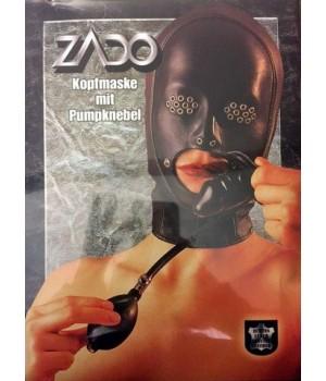 Maschera di sottomissione in pelle con ball gag a forma di pene gonfiabile
