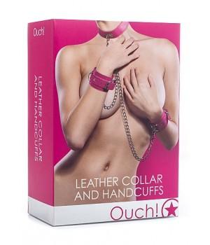 Lussuoso collare con manette in pelle rosa (oggettistica)