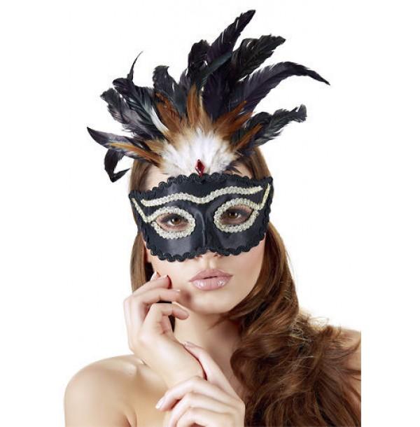 Maschera nera con piume